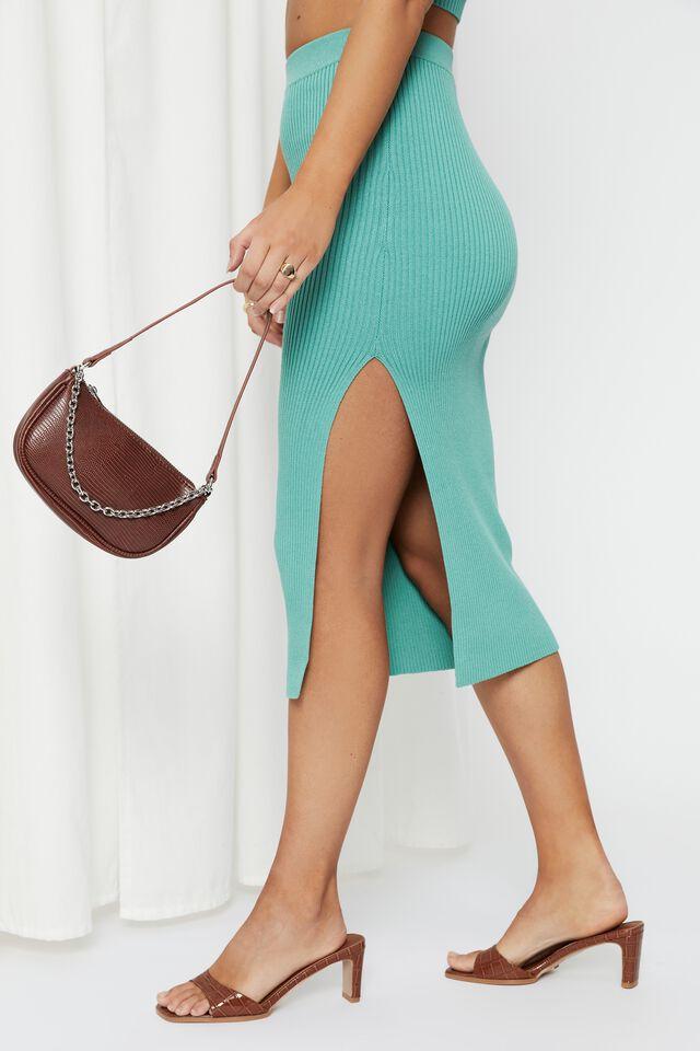 Leigh Midi Split Skirt, MERMAID GREEN