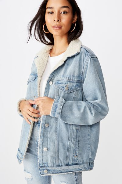 Trucker Faux Sherpa Denim Jacket, CALIFORNIA BLUE