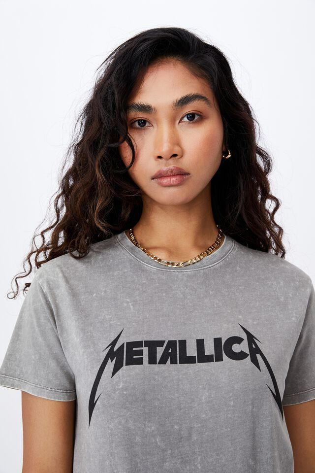 Metallica Band T Shirt, ACID WASH CEMENT GREY/LCN PRO METALLICA LOGO
