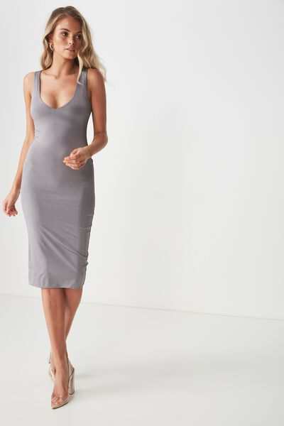 Luxe Shiny V Neck Dress, STEEL GREY