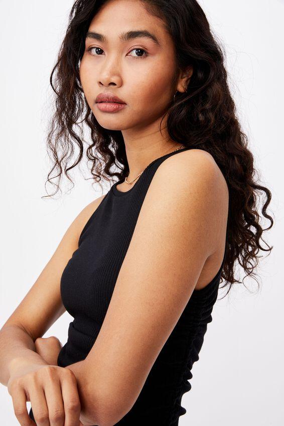 Frida Ruched Mini Dress, BLACK