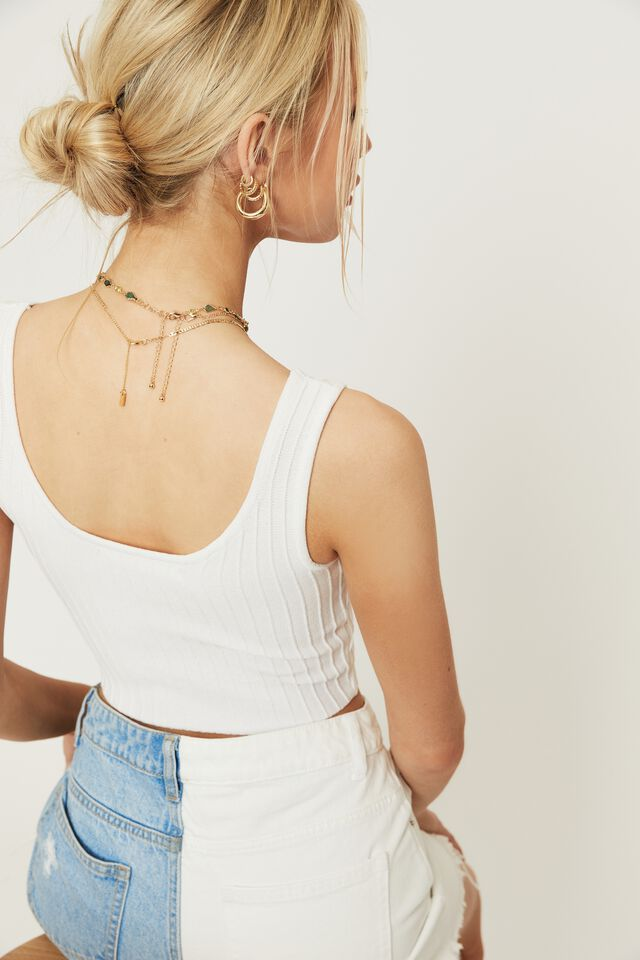 Giselle Square Neck Crop Top, WHITE