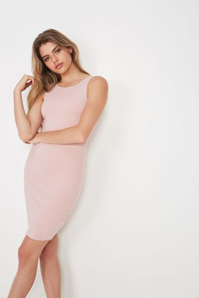 High Neck Mini Dress, MAUVE PINK