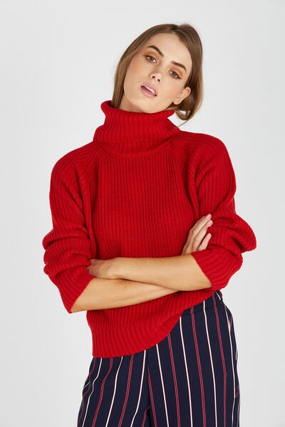 Mili Mid Length Roll Neck Knit Sweater, RED