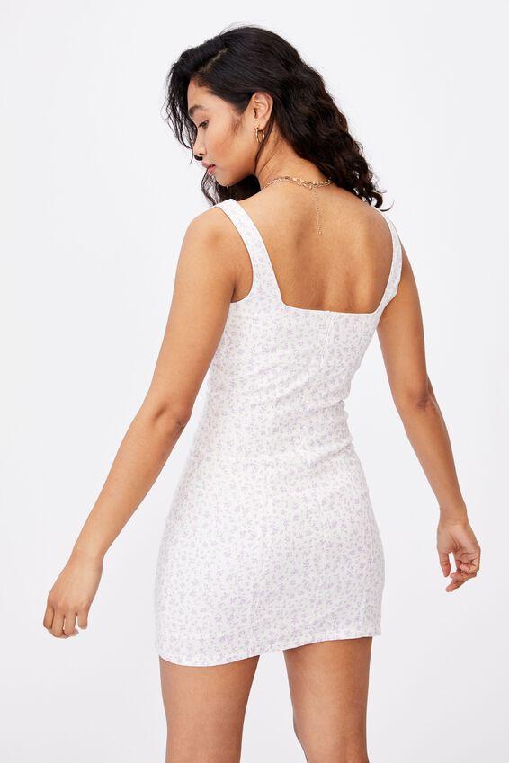 Capri Fitted Square Neck Mini Dress, JENNY FLORAL WHITE