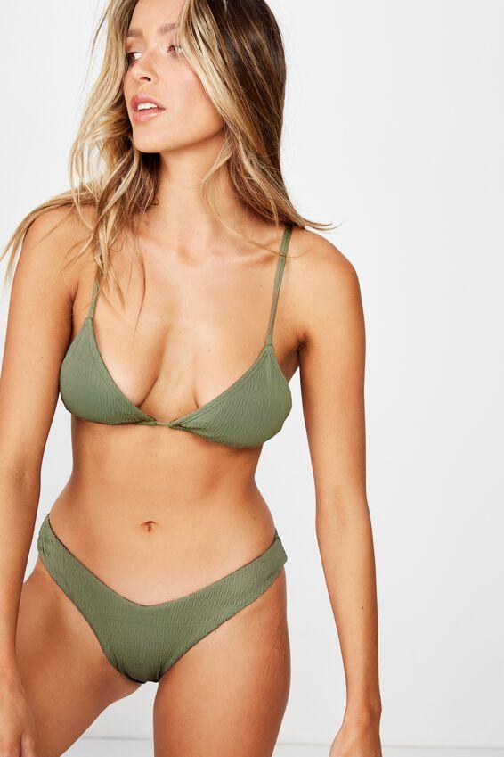 Byron V Front Bikini Bottom, SUMMER KHAKI CRINKLE