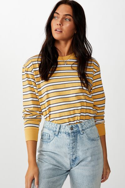 Teri Long Sleeve Crew Neck Top, MANDI STRIPE (SNFLWR.YLLW/GNT.GRY/WHT)