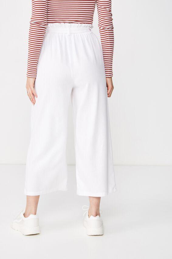Crop Luna Paperbag Linen Pant, WHITE