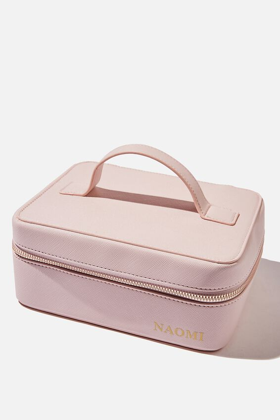 Personalised Square Cosmetic Case, SOFT PINK TEXTURE GOLD