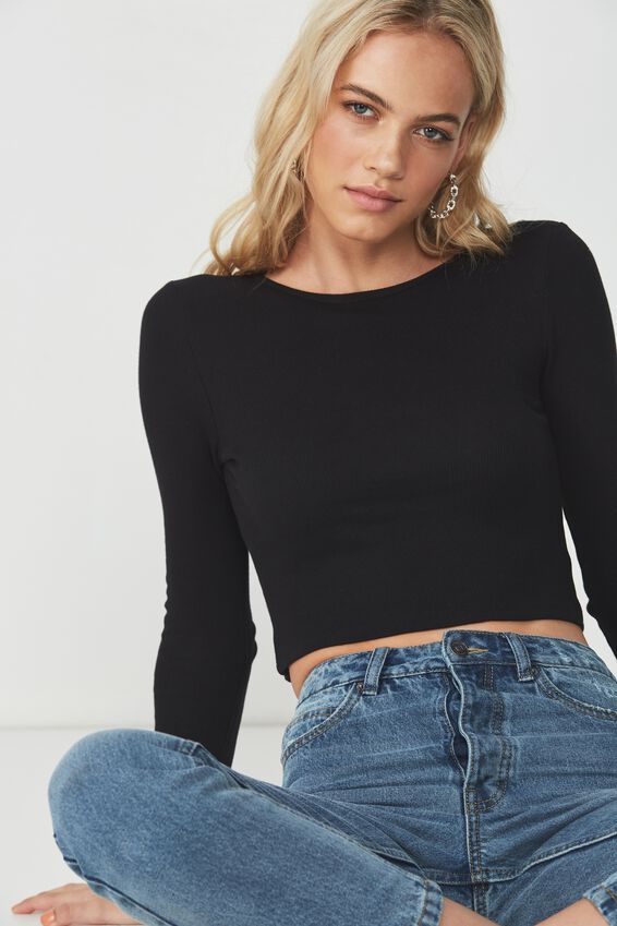 Long Sleeve Rib Crew Neck Crop Top, BLACK