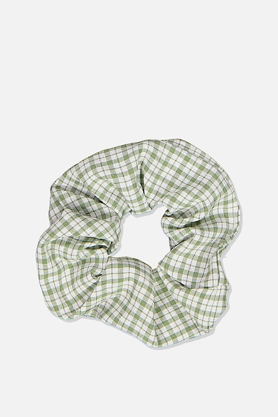 Window Gingham Scrunchie, SAGE
