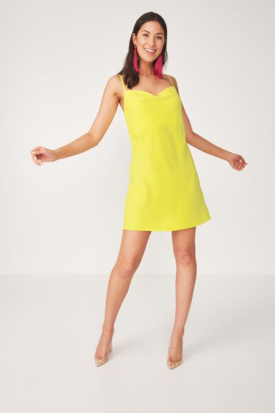 Cowl Neck Mini Dress, BUTTERCUP