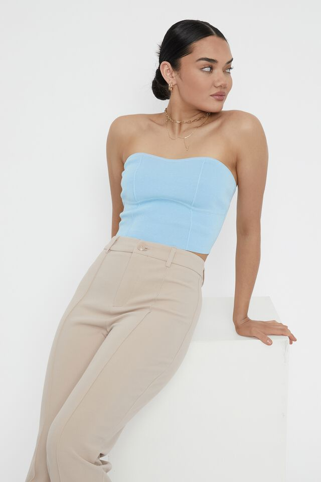 Bustier Strapless Knit Top, CHARM BLUE