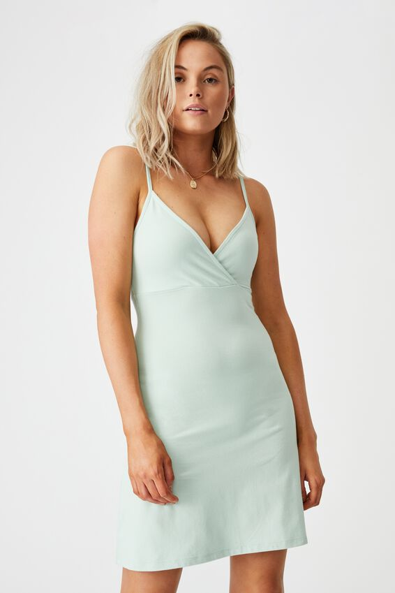 Kira Cross Front Jersey Dress, MINTY GREEN