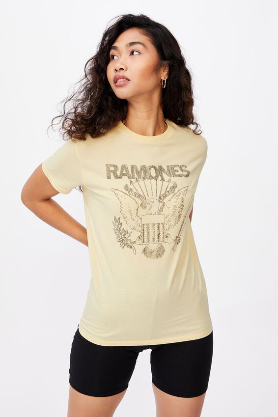 Kendall Printed T Shirt, CREAMY YELLOW/LCN MT RAMONES CREST