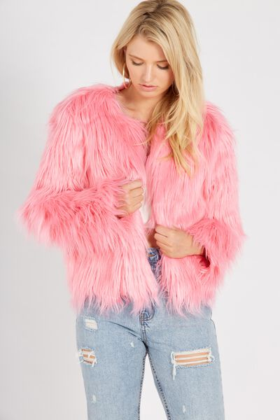 Faux Fur Chubi Jacket, HOT PINK