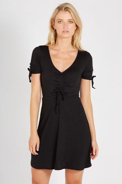 Drawstring Tea Dress, BLACK
