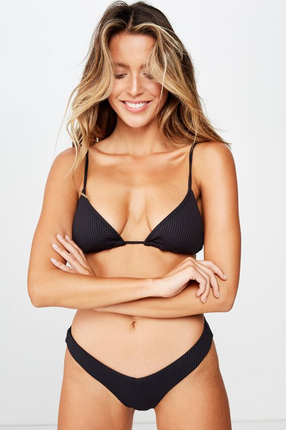 Bondi Slider Triangle Top, BLACK RIB