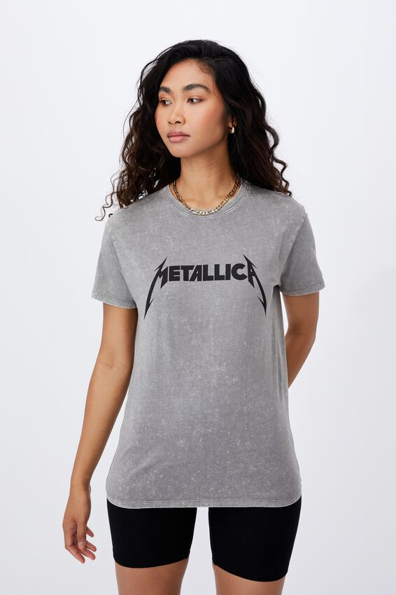 Metallica Band T Shirt, ACID WASH CEMENT GREY/LCN PRO METALLICA LOGO