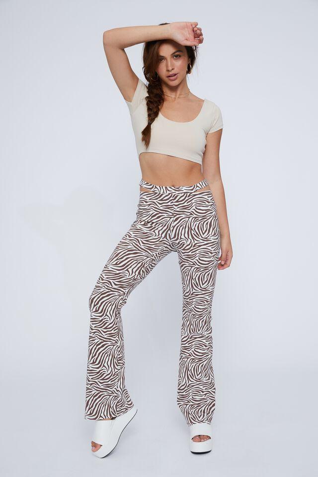 Aliyah Short Sleeve Crop Top, BEIGE BUFF