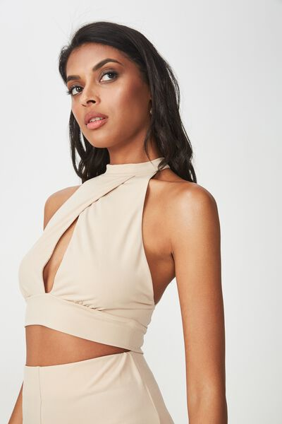 Party Set Sleeveless Crossover Crop, FRAPPE