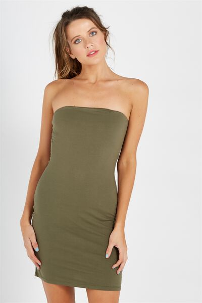 Basic Long Boobtube Dress, OLIVE NIGHT