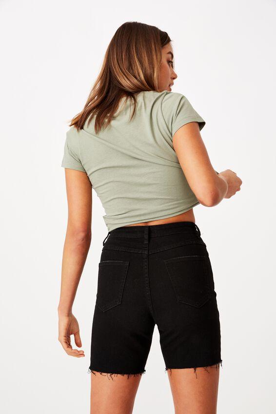 Mariah Highrise Denim Short, BLACK