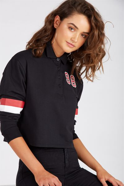 Long Sleeve Collared Rugby Top, BLACK/98