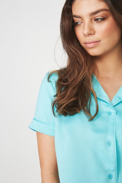 Satin Sleep Shirt, BLUE