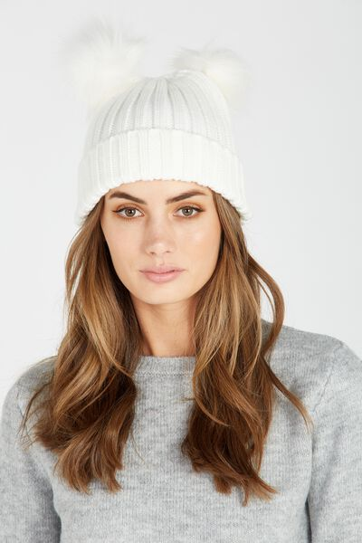 Furry Ears Beanie, WHITE
