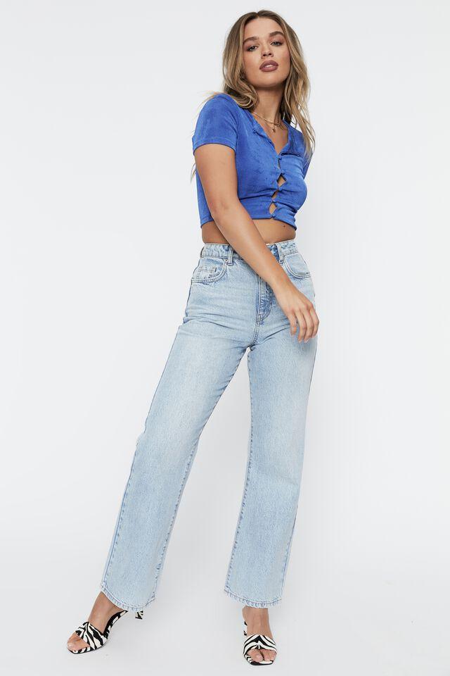 Frankie Slinky Short Sleeve Button Top, SAPPHIRE BLUE