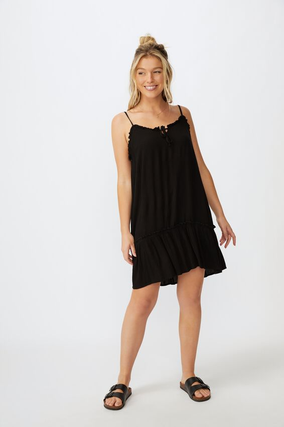 Olivia Tiered Frill Hem Dress, BLACK