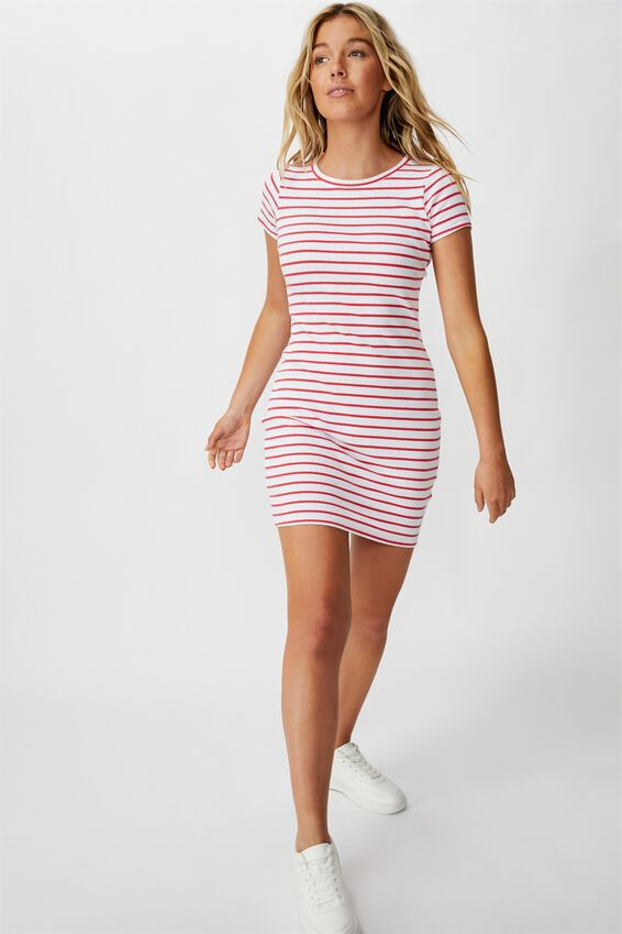 Lucia Rib Tee Mini Dress, HIBICUS RED WHITE STRIPE