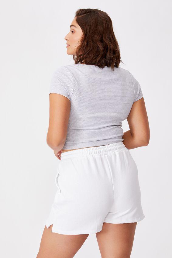 Laney Snap Button Short Sleeve Top, KIARA STRIPE (WHT/GRY MRL)