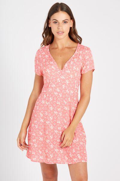 Nina V Neck Dress, RED ROSE DITZY