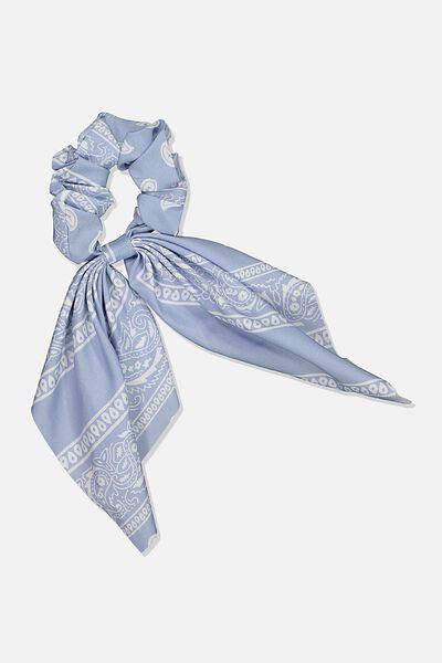 Scarf Scrunchie, BLUE/WHT PAISLEY
