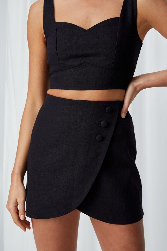 Cece Linen Blend Mini Skirt, BLACK