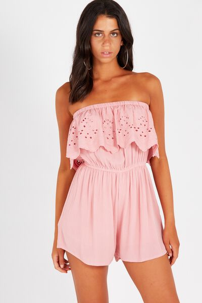 Coco Embroidered Strapless Playsuit, BLUSH