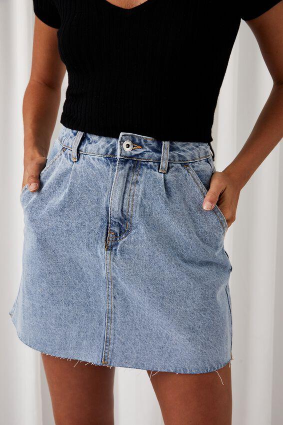 Ella Denim Aline Skirt, MOROCCAN BLUE PLEAT