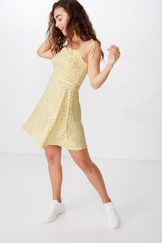 Rylie Tie Shoulder Skater Dress, TIA DITSY YELLOW