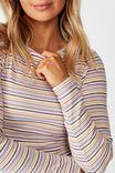 Ash Long Sleeve Rib Top, LAYLA STRIPE (WHT/BLN.PNK/CMNT.GRY/SNFL.YLW/DP SG)