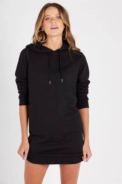 Hooded Sweat Dress, BLACK