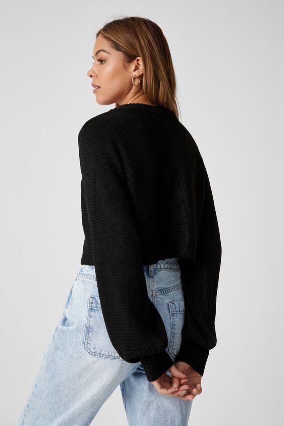 Sophia Crew Neck Knit, BLACK