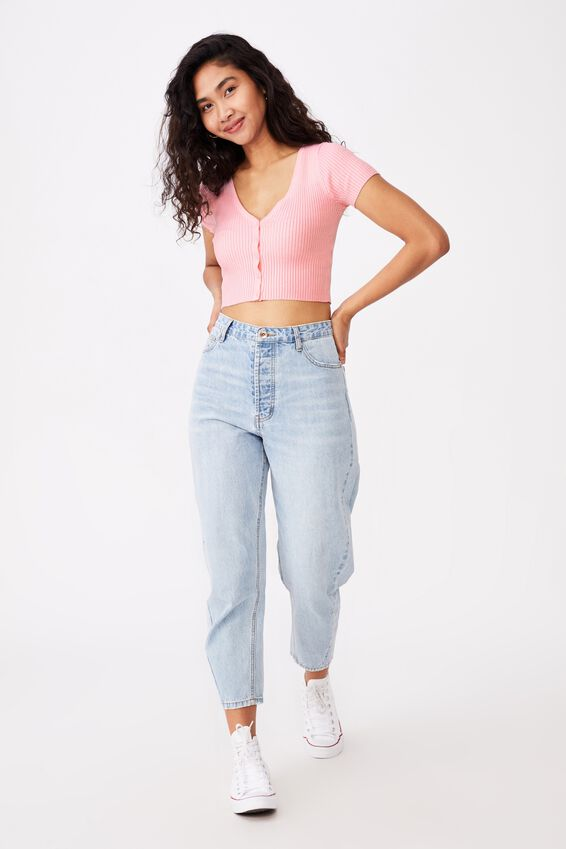 Liv Short Sleeve Button Through, TAFFY PINK