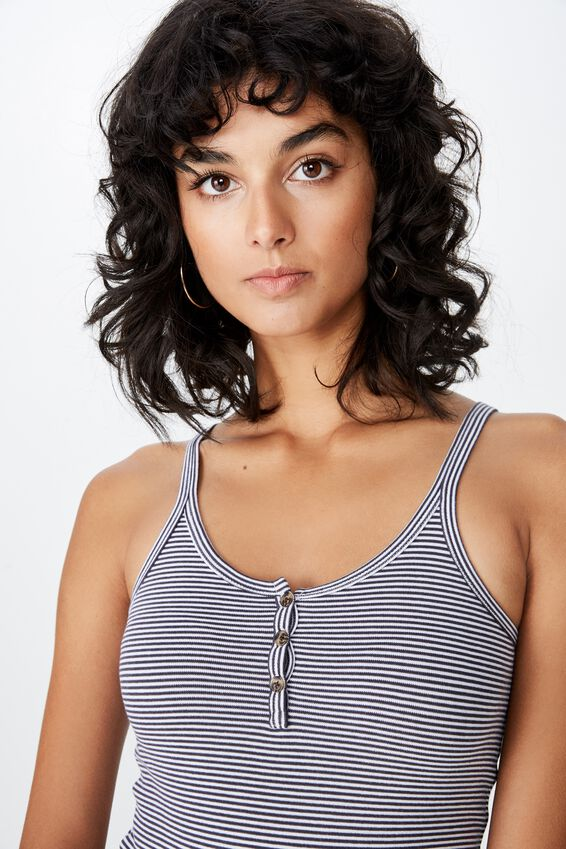 Karen Longline Button Rib Singlet, KIARA STRIPE