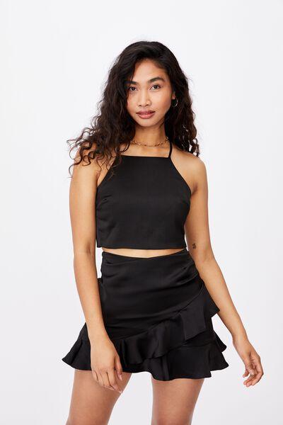 Celia Mini Frill Skirt Co Ord Set, BLACK