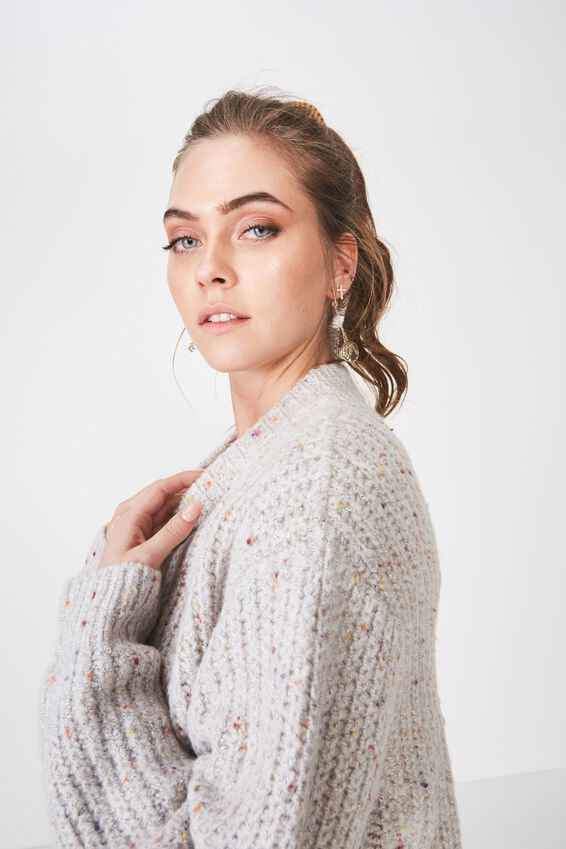 Carly Long Sleeve Crew Knit, OATMEAL MARLE MIX