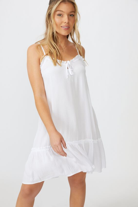 Olivia Tiered Frill Hem Dress, WHITE