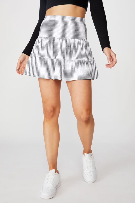 Selena Tiered Skirt, BELLE STRIPE (WHT/BLK)