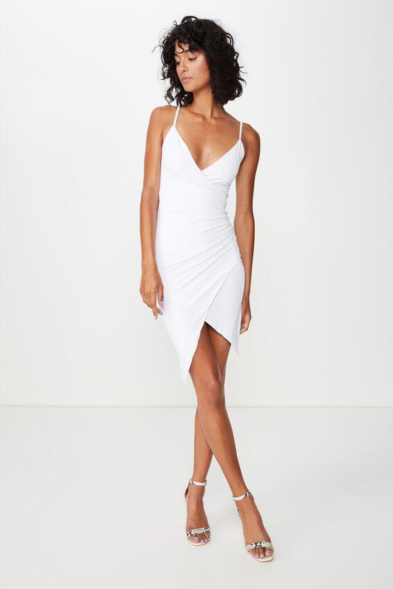 Luxe Strappy Wrap Dress, WHITE
